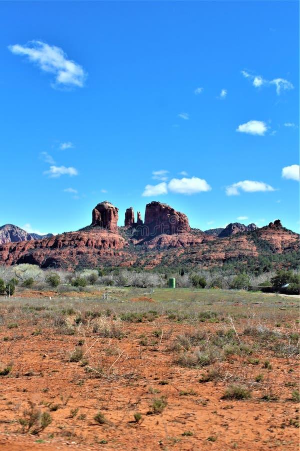 Paysage de paysage, 17 d'un état à un autre, Phoenix à la hampe de drapeaux, Arizona, Etats-Unis image stock