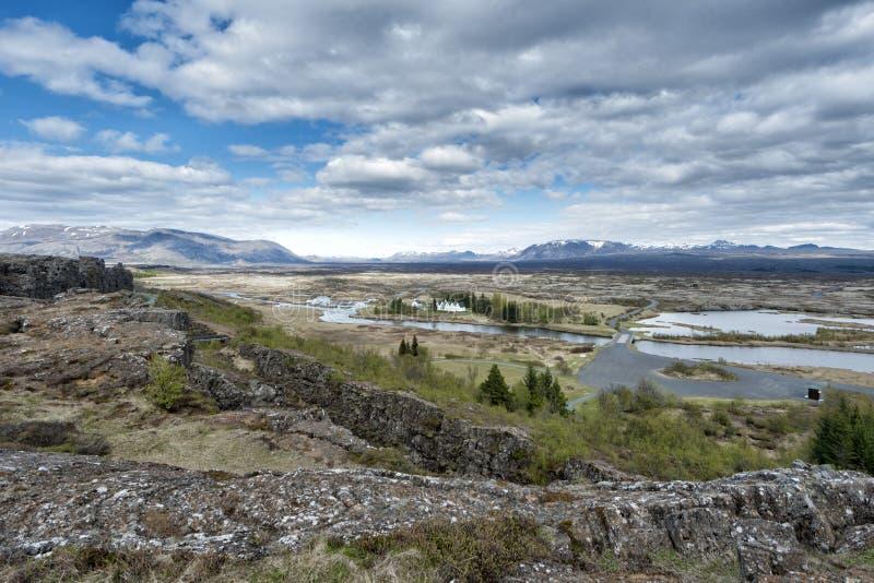 Paysage de fracture de la terre de Pingvellir Islande image libre de droits