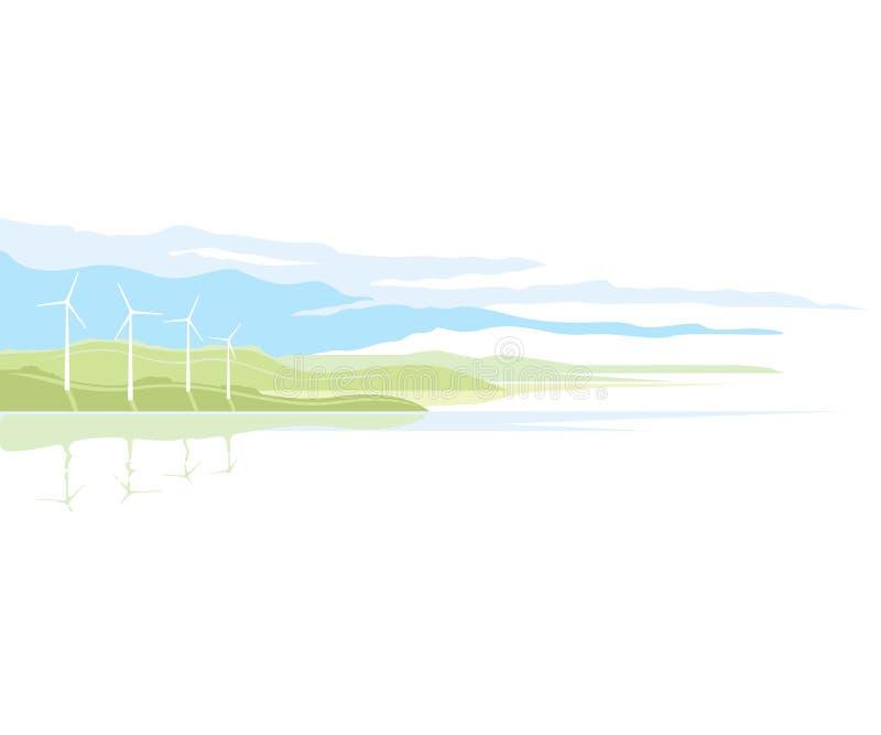 Paysage de générateur de vent illustration de vecteur