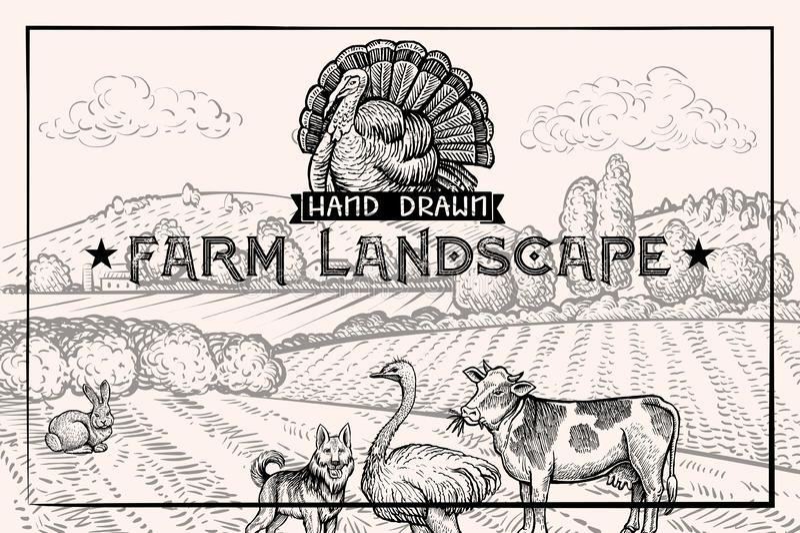 Paysage de grange de cru et animaux de ferme autruche et vache Calibre horizontal texturisé illustration stock