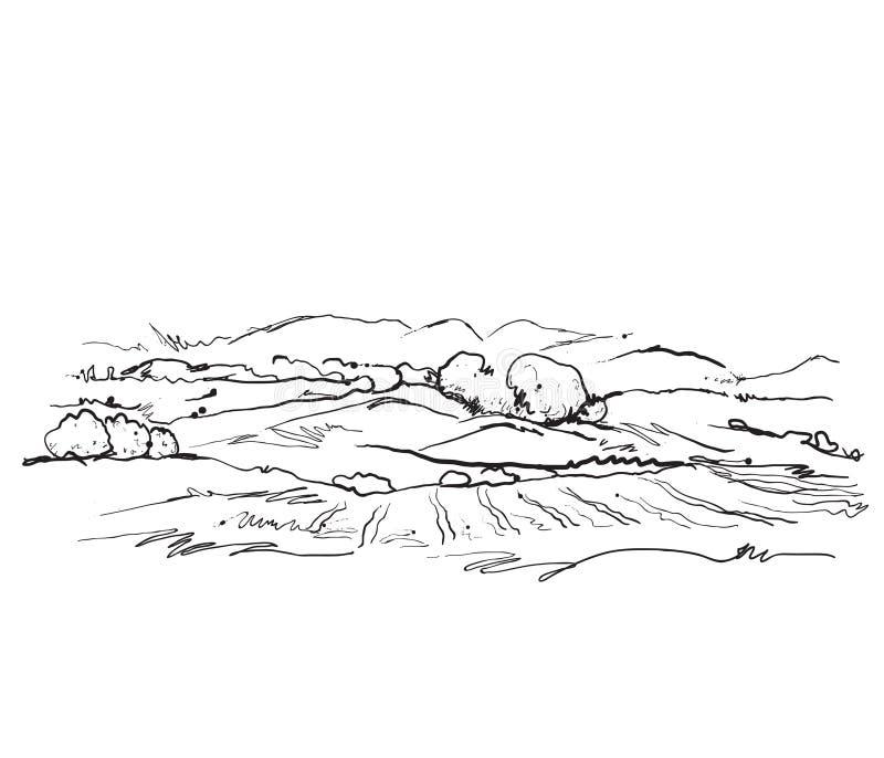 Paysage de griffonnages avec des champs et des arbres illustration libre de droits