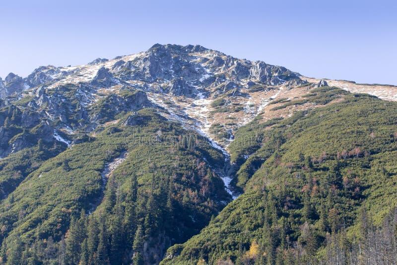 Paysage de haute montagne avec des roches en montagnes de Tatra en Pologne en automne photographie stock libre de droits