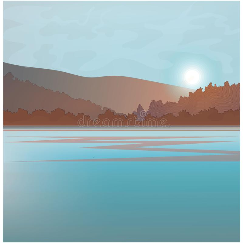 Paysage de l'eau avec le crépuscule illustration de vecteur
