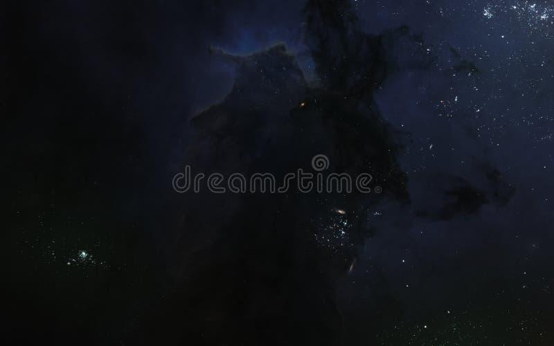 Paysage de l'espace, espace lointain sombre, n?buleuses, groupes d'?toile Art de la science-fiction illustration libre de droits
