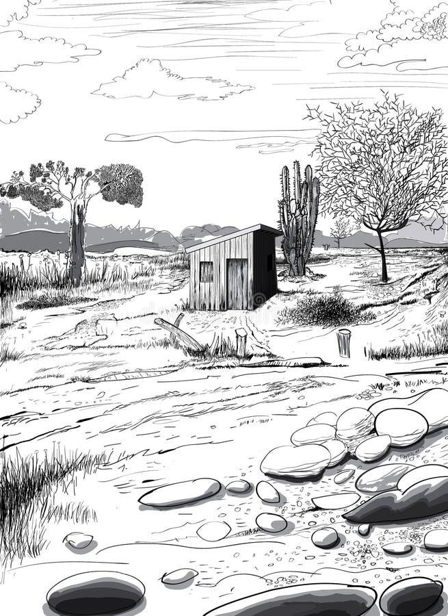 Paysage de l'hinterland illustration stock