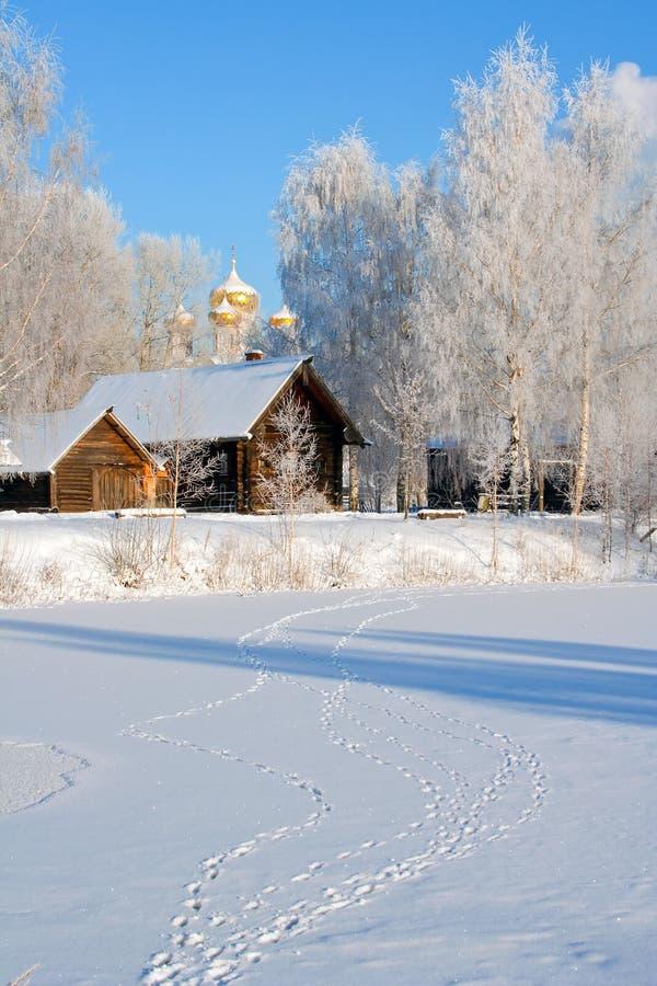Paysage de l'hiver, pays images stock