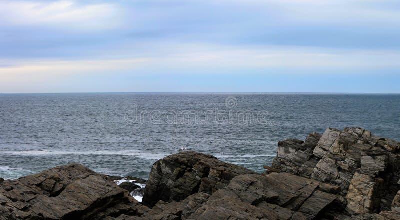 Paysage de l'Océan Atlantique avec des mouettes photos libres de droits