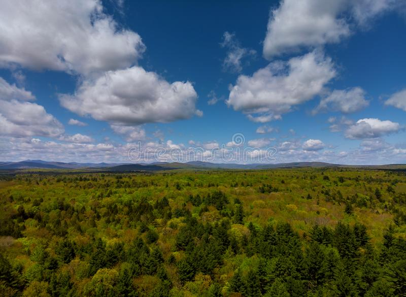Paysage de la Pennsylvanie de montagnes de Pocono avec le pr? et la for?t verts photos stock