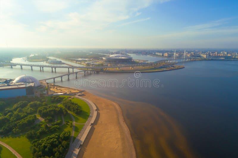 Paysage de la photographie aérienne de Neva Delta St Petersburg photo stock