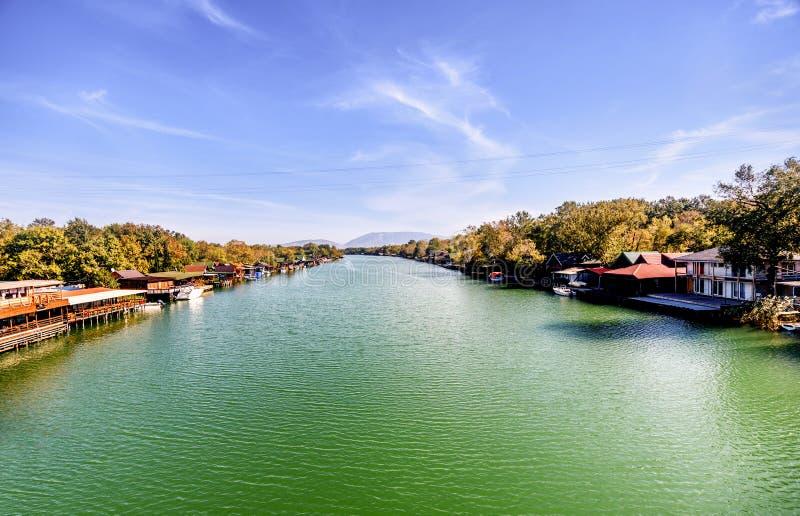 Paysage de la rivière Bojana dans Ulcinj, Monténégro image libre de droits