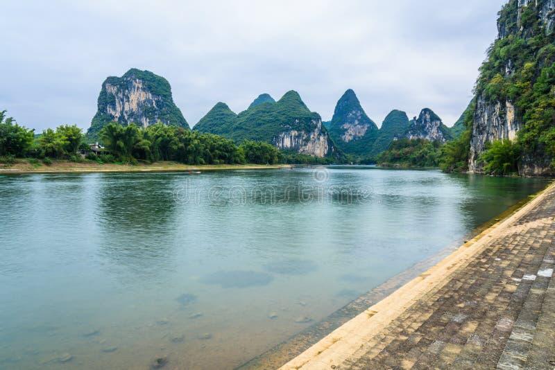 Paysage de la rivière Lijiang photo stock