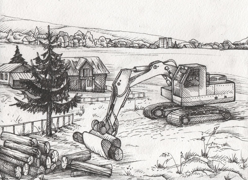 Paysage de la Toscane avec des champs et des villages Illustration tirée par la main illustration libre de droits