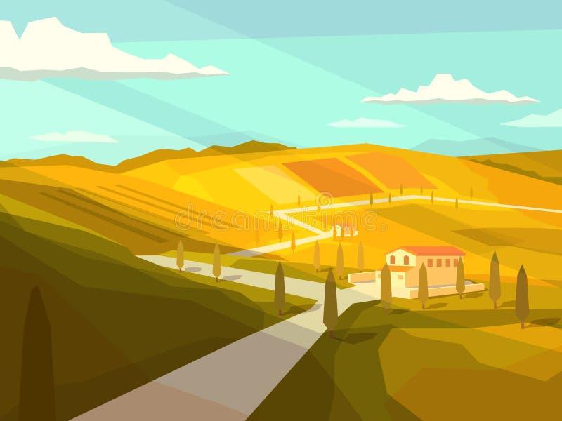 Paysage de la Toscane d'Italien illustration libre de droits