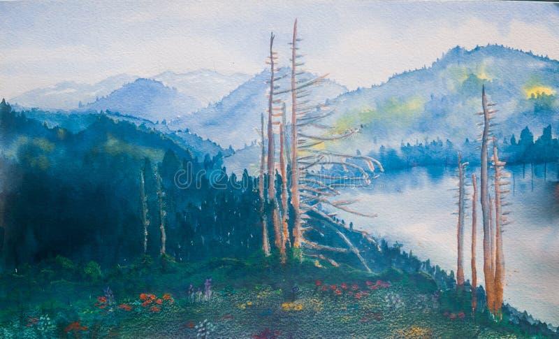 Paysage de lac mountain - peinture originale d'aquarelle illustration de vecteur