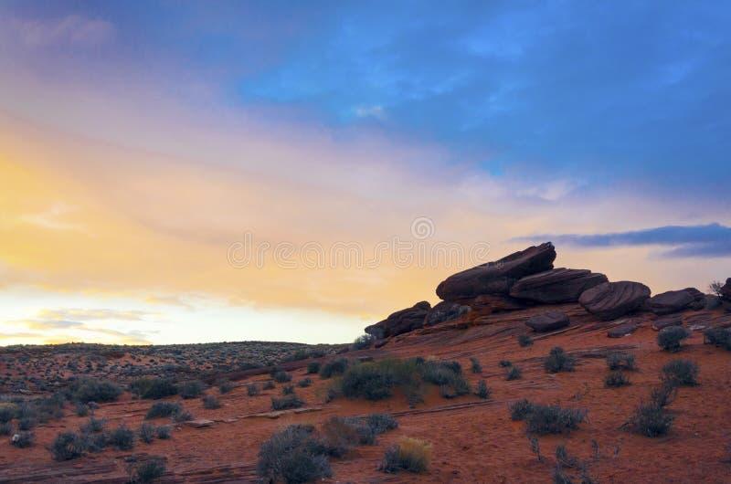 Paysage de lever de soleil à la courbure en fer à cheval image libre de droits