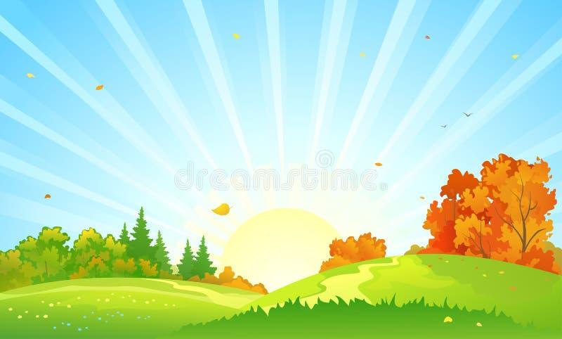 Paysage de lever de soleil de forêt d'automne illustration stock