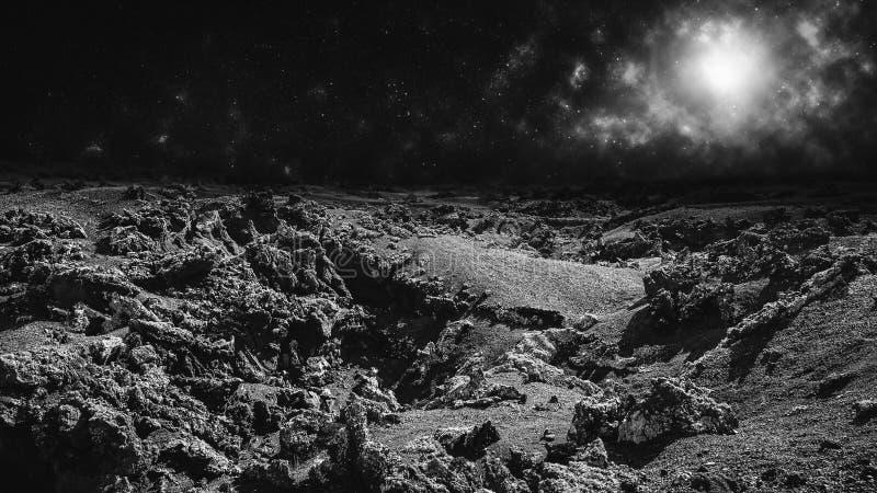 Paysage de lune ou concept étranger à distance de planète images libres de droits