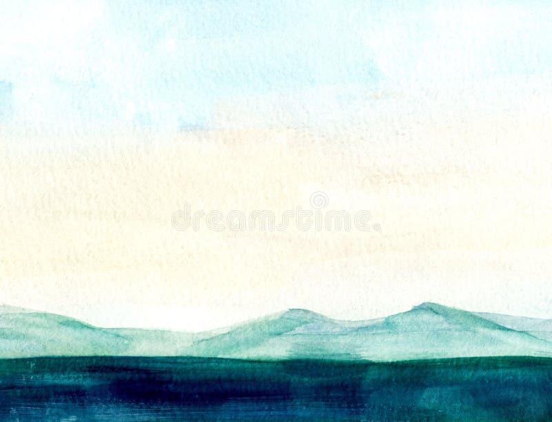 Paysage de mer, côté de mer, plage, montagnes Belle illustration de peinture de main d'aquarelle illustration libre de droits