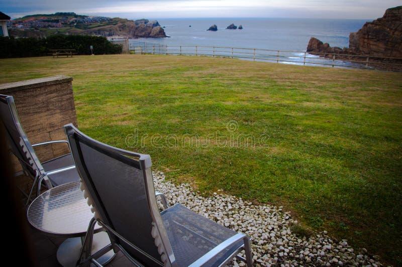 Paysage de mer d'une terrasse photos libres de droits