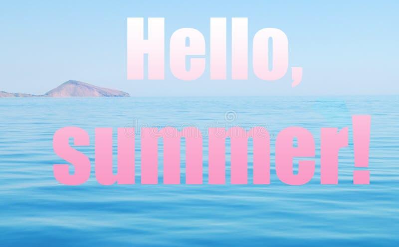 Paysage de mer et inscription de l'été de bonjour Rose et collage bleu image stock