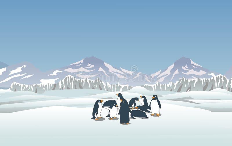 Paysage de Milou avec des pingouins photos libres de droits