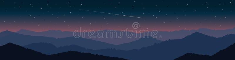 Paysage de montagne au coucher du soleil avec la chute étoilée de ciel et de comète illustration libre de droits