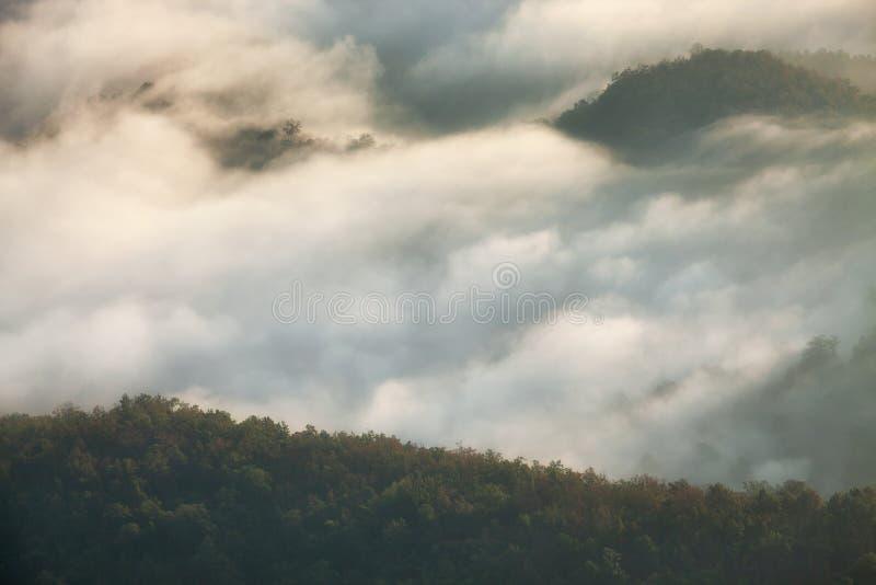 Paysage de montagne avec le brouillard au lever de soleil, Doi Samer Dao, Nan, Thaïlande photos stock