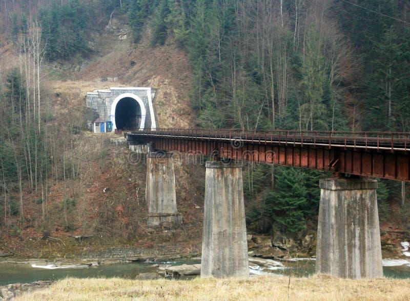 Paysage de montagne avec le chemin de fer image libre de droits