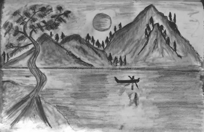 Paysage de montagne avec rivière images libres de droits