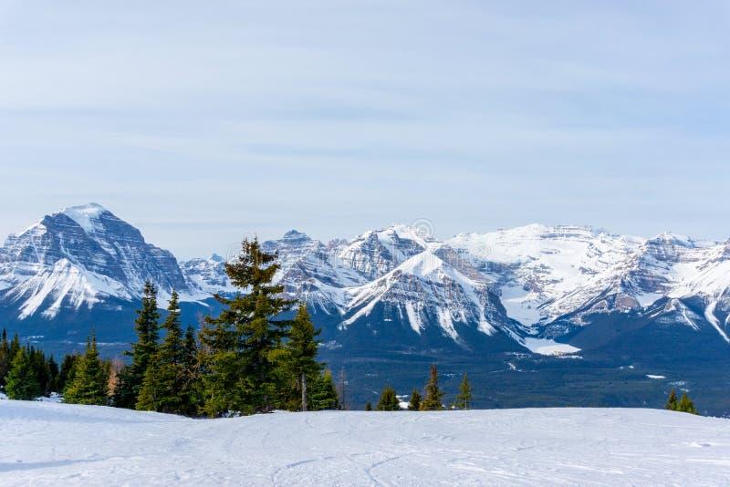 Paysage de montagne de Canadien les Rocheuses au lac Louise Near Banff photos stock
