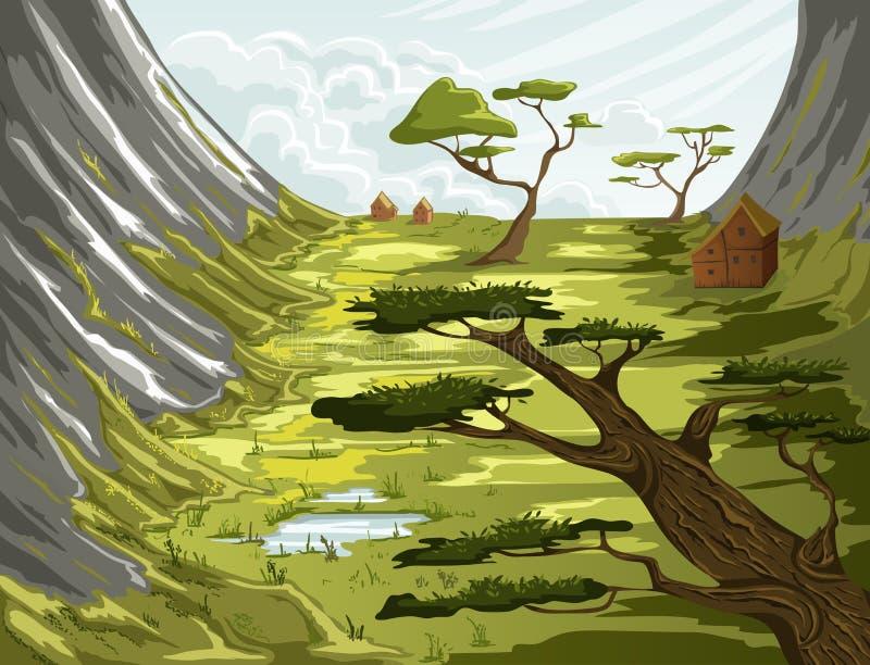 Paysage de montagne d'été avec le champ, les maisons et les arbres verts illustration stock