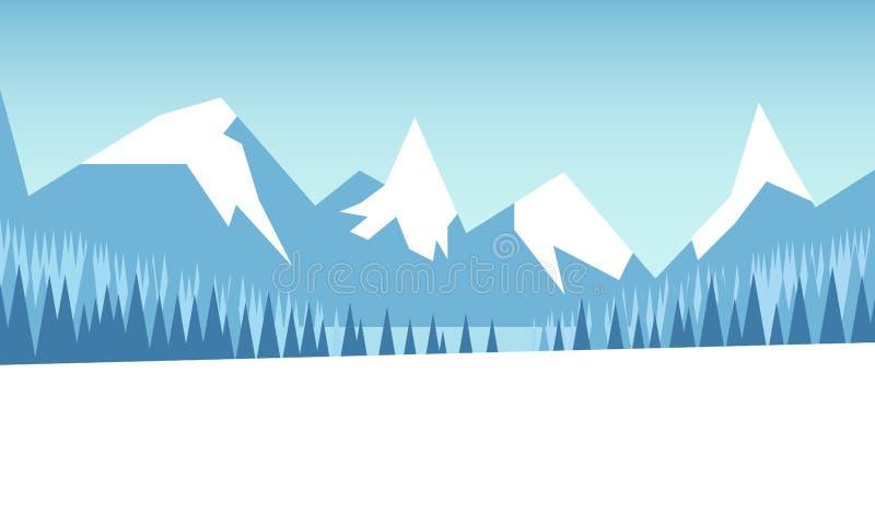 Paysage de montagne d'hiver avec la forêt et le champ couvert de neige Illustration de vecteur illustration libre de droits