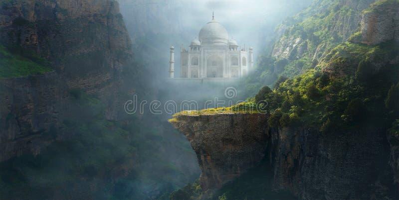 Paysage de montagne d'imagination, fond, Taj Mahal images libres de droits