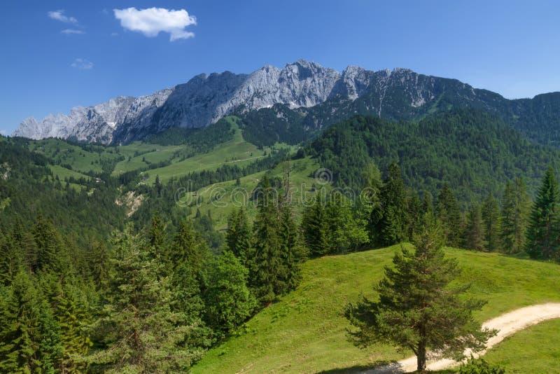 Paysage de montagne dans les Alpes Gamme de montagne de Wilder Kaiser photographie stock libre de droits