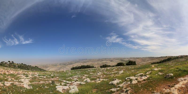 Paysage de montagne de désert de panorama, Jordanie images stock