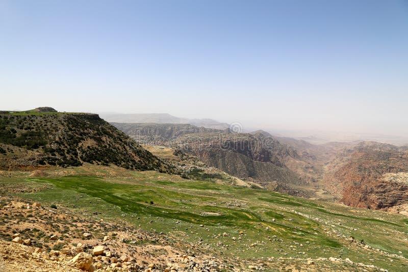 Paysage de montagne de désert, Jordanie, Moyen-Orient image stock