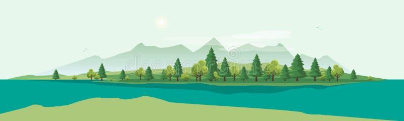 Paysage de montagne de Geen avec le fond de nature d'arbres illustration de vecteur