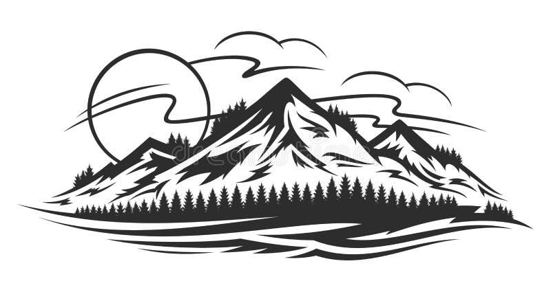 Paysage de montagne de vecteur illustration libre de droits