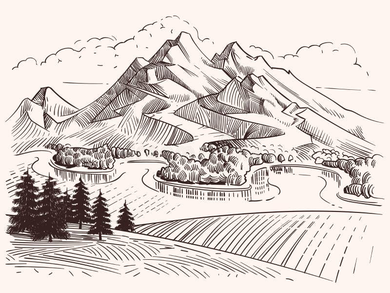 Paysage de montagne de dessin au crayon Illustration de vecteur de montagnes et de sapins de croquis de bande dessinée illustration stock