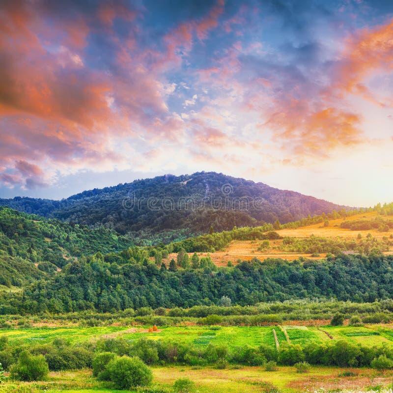 Paysage de montagne en été avec des cumulus photo stock