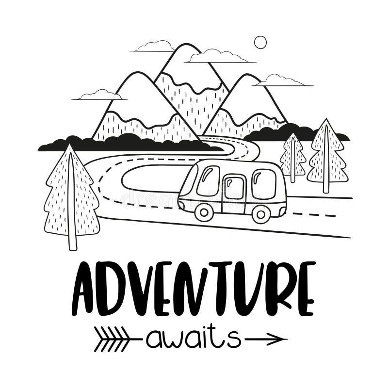 Paysage de montagne de Minimalistic avec le campeur sur la route L'aventure d'inscription d'écriture attend illustration de vecteur