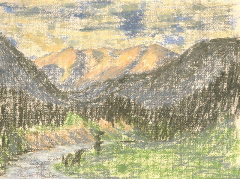 Paysage de montagne, montagnes de dessin en pastel sur l'horizon illustration libre de droits