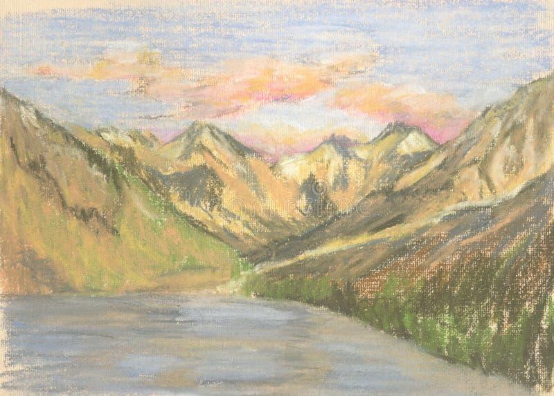 Paysage de montagne, montagnes de dessin en pastel sur l'horizon illustration de vecteur