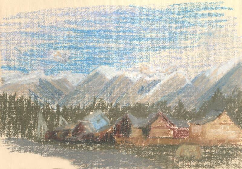 Paysage de montagne, village avec les montagnes sur l'horizon illustration stock