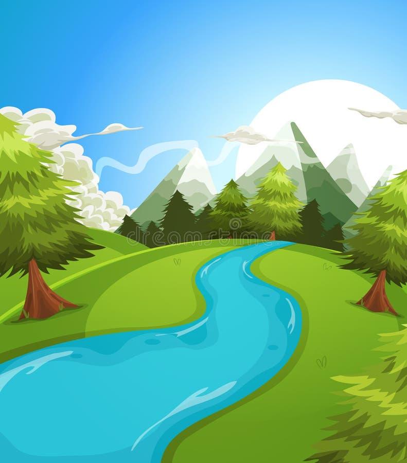 Paysage de montagnes d'été de bande dessinée illustration stock