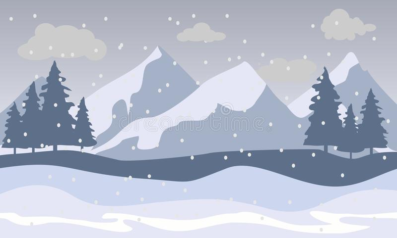 Paysage de montagnes de neige illustration libre de droits