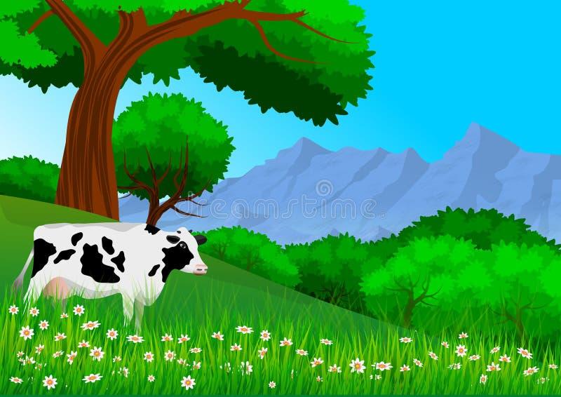 Paysage de nature avec la montagne, les arbres, les collines et un pâturage de vache wallpaper illustration stock