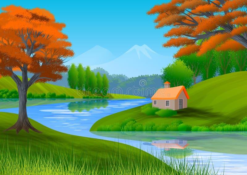 Paysage de nature avec la montagne, les arbres, les collines, un cottage et une rivière illustration stock