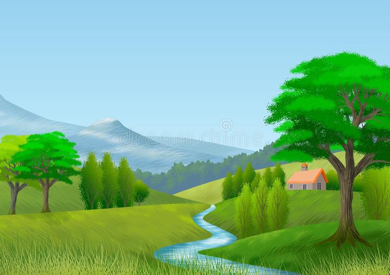Paysage de nature avec la montagne, les arbres, les collines, une rivière et un cottage wallpaper Fond images libres de droits
