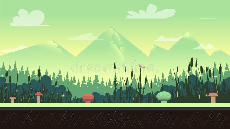 Paysage de nature dans des couleurs vertes illustration stock